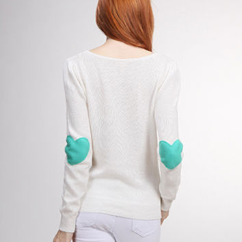 Turquoise Heart Elbow Patch Ivory Sweater