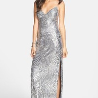 Sean Collection Beaded Silk Georgette Column