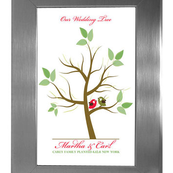 TREE GUEST BOOK, Wedding Tree, Fingerprint Guest Tree, Love Birds, Thumbprint Love Tree guest book, 16x20 num. 101