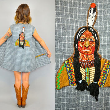 vtg BRAIDED INDIAN custom appliquéd + beaded southwestern tribal LIGHTWEIGHT layering vest gilet, extra small-large
