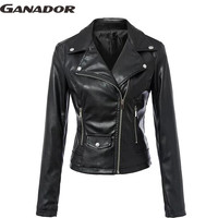 Ganador hot sale! new women leather coats long sleeve black jacket high quality slim style jackets female spring coats LS6582na