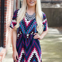Sparks Fly Tribal Printed Dress - Multicolor