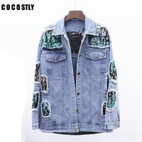 2018 autumn jeans jacket women sequined denim jacket Fashion loose Hole Windbreaker Ripped blusa Chaqueta vaquera