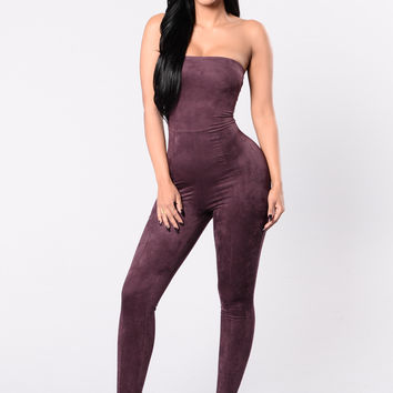 Purposely Late Jumpsuit - Plum