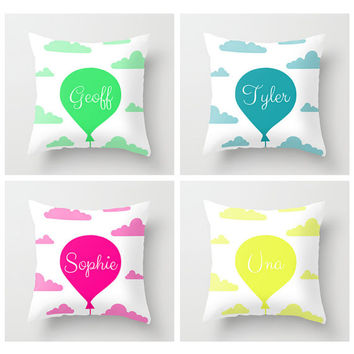 Nursery decor decorative pillow cover, personalised name on balloon in the clouds in teal and white. Baby boy gift, throw cushion cover.