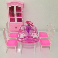 Barbie Size Dollhouse Furniture- Dinning Room with 4 Chairs & Cabinet