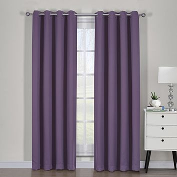 Purple 54x96 Ava Blackout Weave Curtain Panels With Tie Backs Pair (Set Of 2)