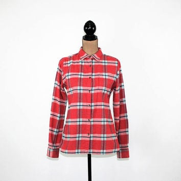 Red Plaid Flannel Shirt Women Small Petite Long Sleeve Button Up Top Cotton Shirt Woolrich Womens Clothing