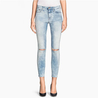 Blue Washed Cut-out Knees Crop Pencil Pants