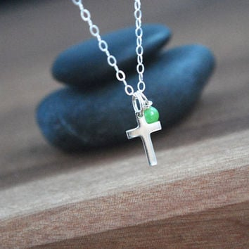 Cross + Chrysoprase Sterling silver necklace very delicate + dainty Layering necklace crucifix gemstone necklace Chrysoprase simple necklace