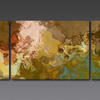 "Large contemporary triptych, 30x60 stretched canvas print in earth tones, from abstract painting ""Far Rolling Voices"""
