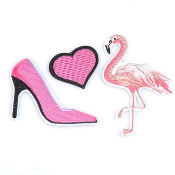 Embroidered Applique Pink Flamingo and Pink High Heel Patch