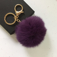 New! Deep purple Fur pom pom keychain fur ball bag pendant charm