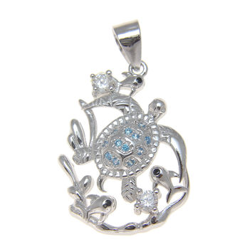 925 Silver Rhodium Genuine Blue Topaz and CZ Hawaiian Honu Turtle Fish Pendant