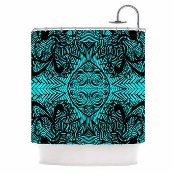 "Shirlei Patricia Muniz ""The Elephant Walk"" Teal Ethnic Shower Curtain"
