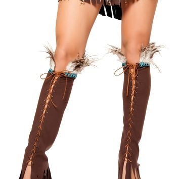 Roma RM-LW10106 Lace up Suede Leg Warmer with Feather and Fringe Detail