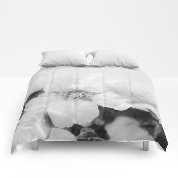 Black And White Blossoms Comforters by ARTbyJWP