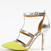 Qupid Mixi-44 Neon Metallic T Strap Pumps | MakeMeChic.com
