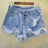 European and American BF summer wind female blue high waist denim shorts women worn loose burr hole jeans shorts plus size