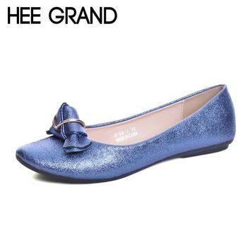 HEE GRAND 2017 Loafers Casual Platform Shoes Woman Bowtie Ballet Flats Slip On Comfort