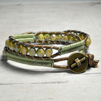 Leather Wrap Bracelet - Green Bead Wrap Bracelet - Bead Wrap Bracelet - Wrap Around - Double Wrap Bracelet
