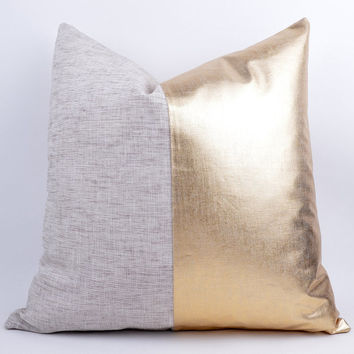Sukan / Raw and gold pillow - white and gold pillow - black and gold pillow - red and gold pillow - gold decorative pillows CUSTOM PILLOW