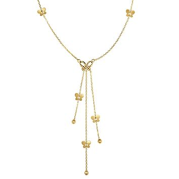"""14k Yellow Gold Lariet Butterfly Necklace, 18"""""""