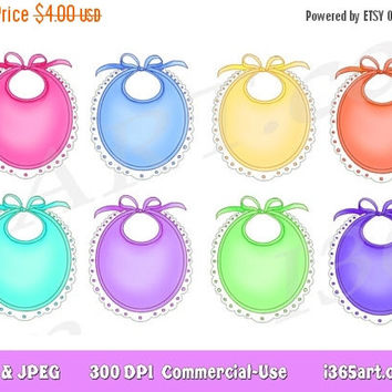 50% Off Sale Bibs Clipart, Frames, Borders, Bibs Clip art, Gift Name Tags, clipart tags, labels, Baby Clipart, Shower, Nursery, Invitations