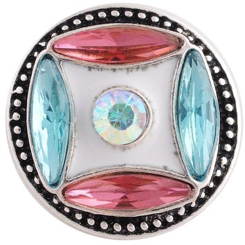 Snap Charm Turquoise Pink Clear 20mm 3/4""