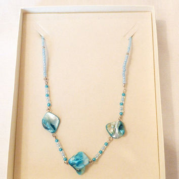 Necklace, Abalone, Pau Shell, Turquoise, Teal, Blue Green, Handcrafted, Seed Beads, Ooak, one of a kind