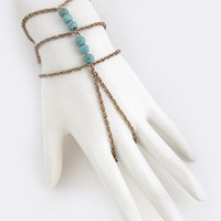 Triple Beaded Antique Gold & Turquoise Finger Bracelet