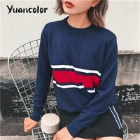 Autumn Fashion womens Pullover Crop sueter feminino Casual striped pullover O-neck Long Sleeve knitted Sweater Black Navy