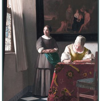 Woman Writing a Letter by Johannes Vermeer Counted Cross Stitch or Counted Needlepoint Pattern