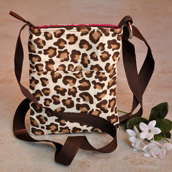 Small zipper pouch purse, tiny leopard print tote, cute cross body shoulder bag, small animalprint tote bag with adjustable strap