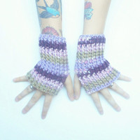 Wrist Warmers in Lavender Garden, ready to ship.