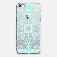 Aqua and White Lace Mandala - transparent iPhone 5 case by Micklyn Le Feuvre | Casetify