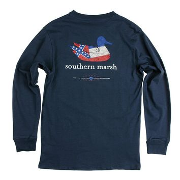 Authentic Mississippi Heritage Long Sleeve Tee in Navy by Southern Marsh