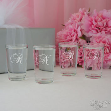 The Swerve - Bridal Party Personalized Shot Glass with Monogram Choice and Font Selection (2.5 oz. Engraved Shot Glass)