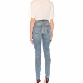 High-waisted slim-fit jeans
