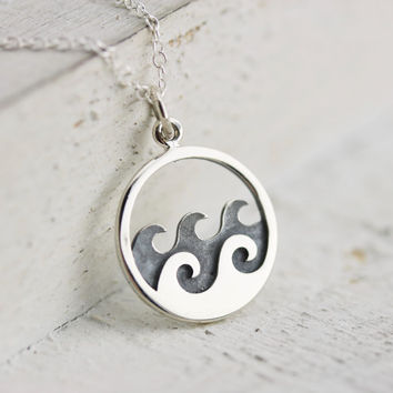 Waves Necklace - Sterling Silver Ocean Waves Necklace - Wave Pendant - Water Necklace - Surfer Jewelry - Nautical Necklace - Ocean Jewelry