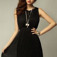 Pleated Black Tank Dress