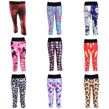 Yoga Pants Women Sport Leggings GYM Elastic Calzas Deportivas Mujer Fitness Sports Capri Pattern Tights Workout Skinny Trousers