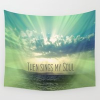 Then Sings My Song Sunbeams Wall Tapestry by Quote Life Shop