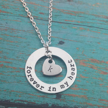 Memorial Necklace / Forever In My Heart Necklace / Memory Necklace / RIP Necklace / Sympathy Gift / Keepsake