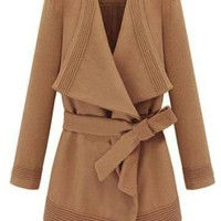 Waterfall Camel Coat with Belt - US$57.95 -YOINS