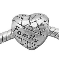 European charm metal bead heart FAMILY