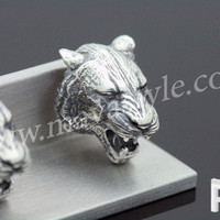 Sterling Silver Roaring Tiger Cufflinks