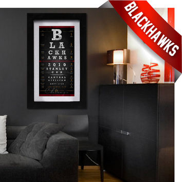 Chicago Blackhawks - Free Customization - Eye Chart Art - Perfect Birthday Gift - Stanley Cup