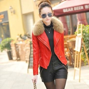 women's leather jacket female coats with fur collar leather clothing women Plus size M-4XL 198