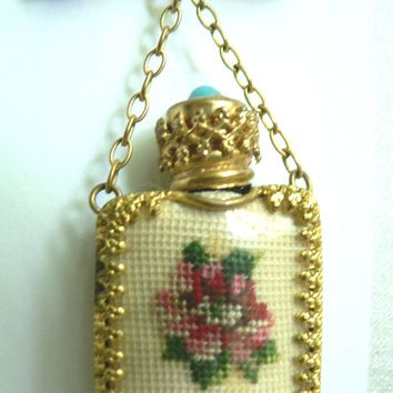 Spectacular Vintage Petit Point & Gilt Perfume Bottle Brooch Pin